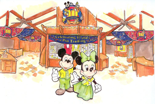 Concept artwork for the visual display coming to Disneys Pin Traders in Florida