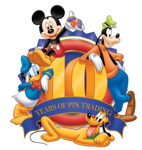 The official logo for the 10th Anniversary of Disney Pin Trading