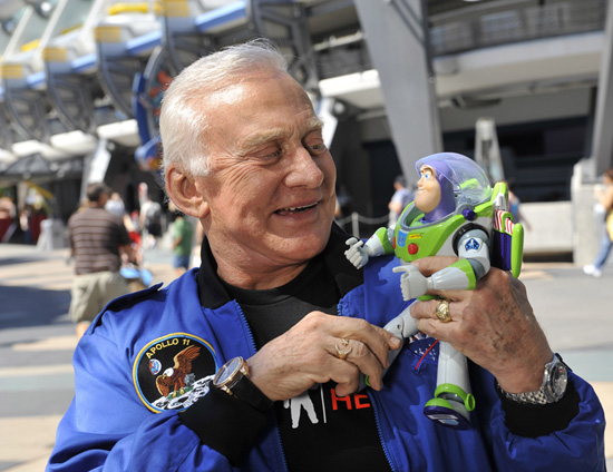 Buzz Aldrin and Buzz Lightyear