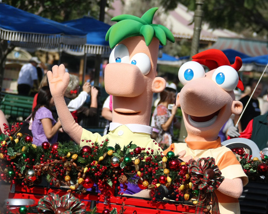 Phineas and Ferb in the Disney Parks Christmas Parade