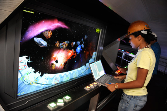 Video Games in Space Mountain Stand By Line
