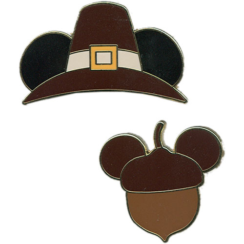 Two-on-a-Card Acorn & Pilgrim Hat Pin