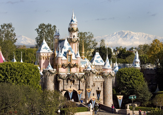 Snow-Capped Mountains Behind Sleeping Beauty's Winter Castle