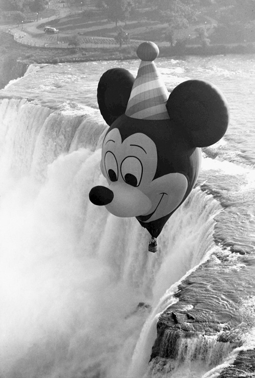 Birthday Mickey Flies Over Niagara Falls