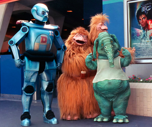1986 photo of 'Captain EO' characters at Disneyland park.