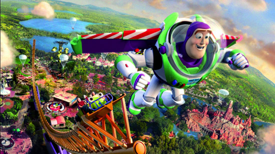 An ad from Disneyland Paris' New Generation Festival: Buzz Lightyear soars over Disneyland Paris.