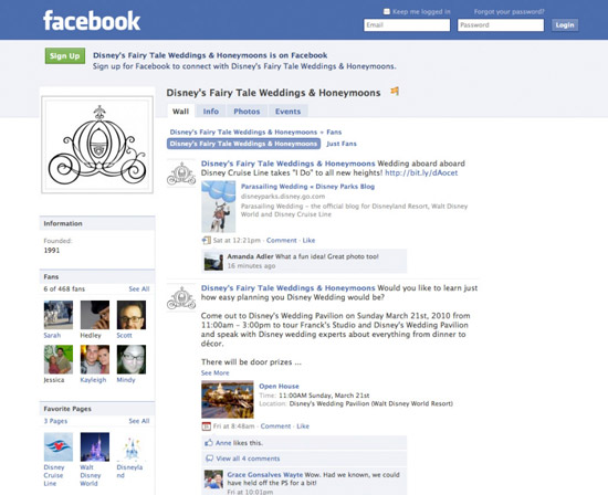 Disney's Fairy Tale Wedding & Honeymoons on Facebook