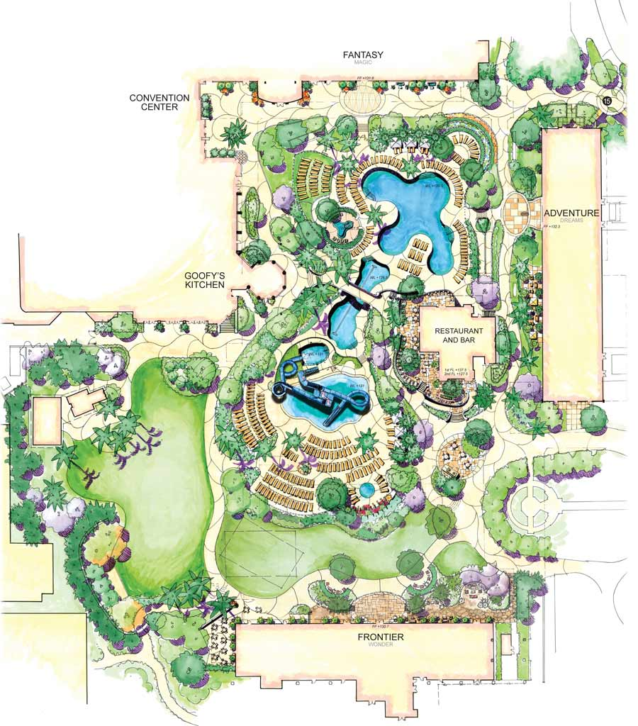 The new water play area pool and dining locations are scheduled to be