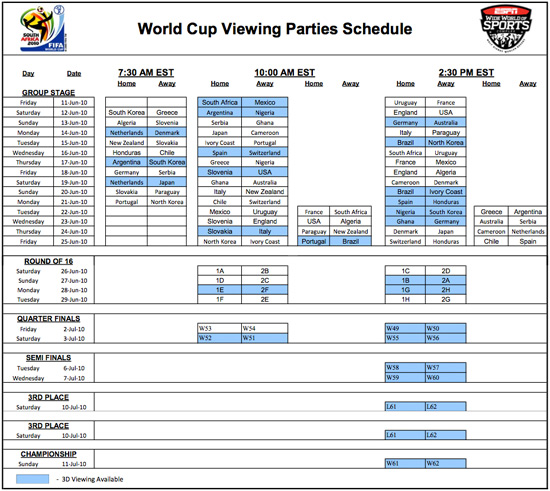 World Cup Viewing Parties Schedule at ESPN Wide World of Sports