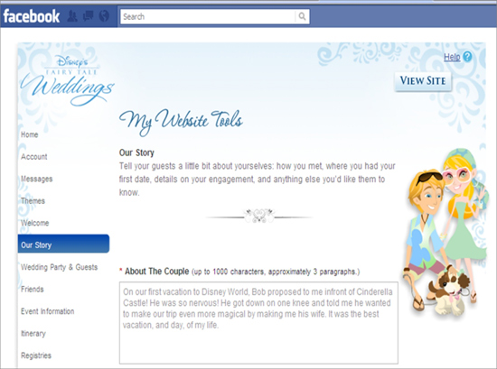 Disney's Fairy Tale Weddings Facebook page