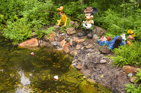 Goofy, Mickey and Pluto fishing at Camp Minnie-Mickey