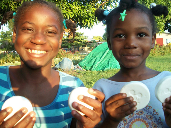 Haitian Children With Donated Disney Soaps