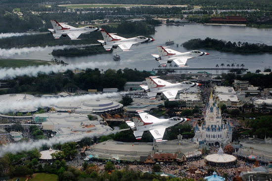 United States Air Force Thunderbird Jets Flying Over Magic Kingdom Park