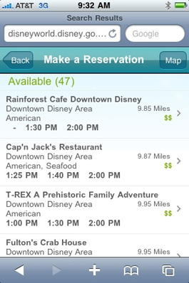 'Near Me' Search Added to Mobile Dining Reservation Site at Walt Disney World