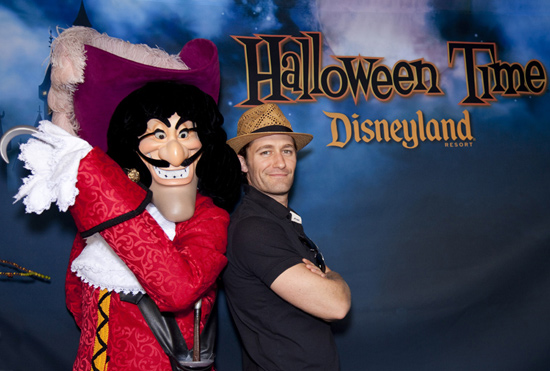 Matthew Morrison with Captain Hook at Disneyland