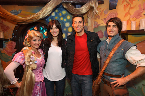 Rapunzel, Mandy Moore, Zachary Levi, and Flynn Rider at Disneyland park