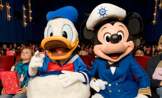 Donald Duck and Mickey Mouse at an Exclusive Showing of 'Beauty & The Beast'
