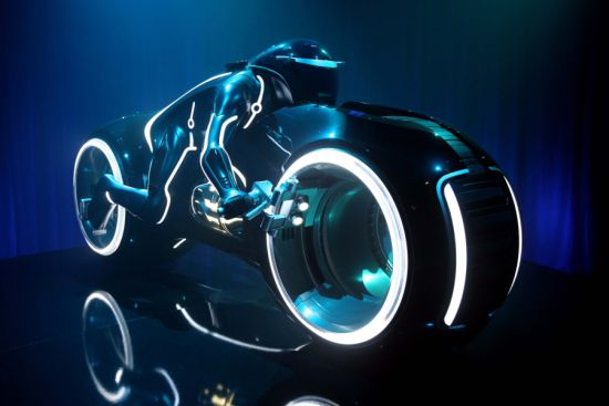 "Full-Scale Model of a Light Cycle from Disney's ""TRON: Legacy"""