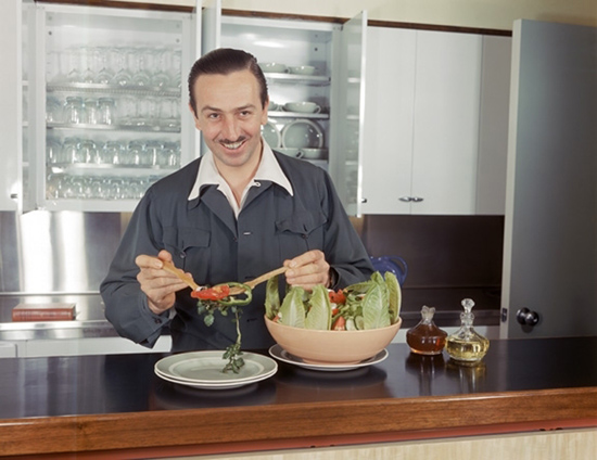 Walt Disney Tossing a Salad in His Brand New Walt Disney Studios in the 1940s