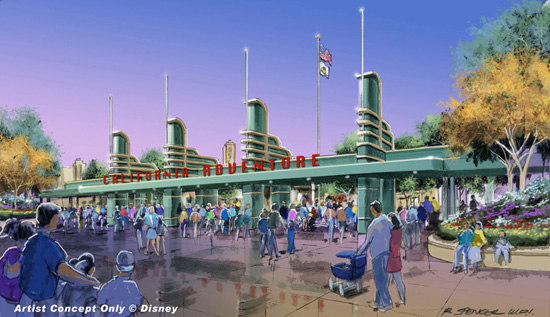 Artist Rendering of the Disney California Adventure Main Entrance Area