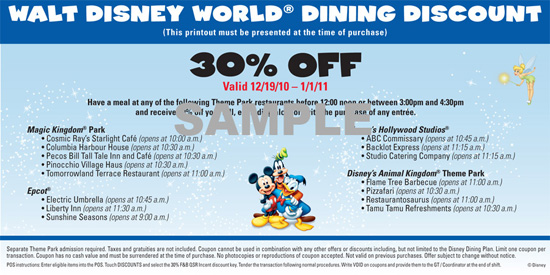 Walt Disney World Dining Discount