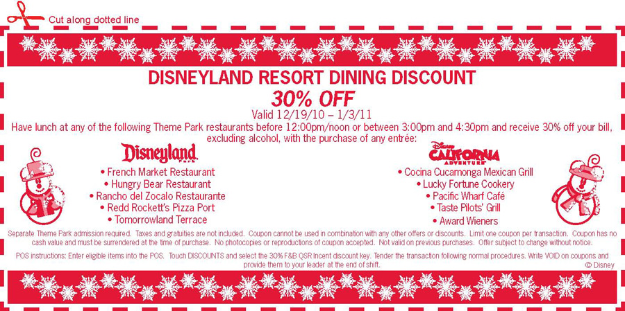 Disneyland Resort Dining Discount Voucher
