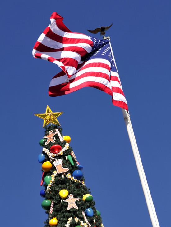 American Flag and Christmas Tree in Town Square at Walt Disney World