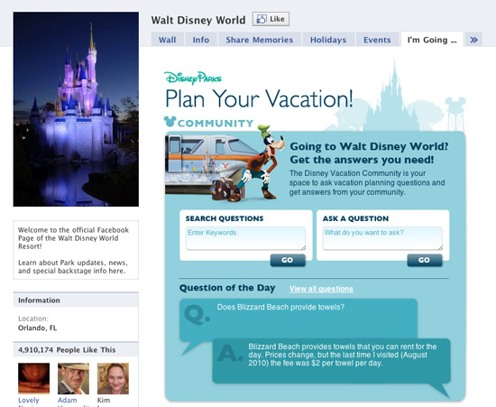 'I'm Going To' on Walt Disney World Facebook