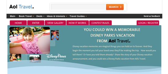 Disney Parks AOL Travel Contest