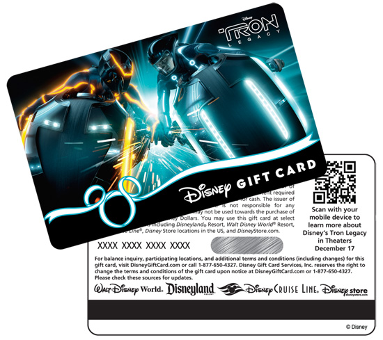 TRON-Inspired Disney Gift Card
