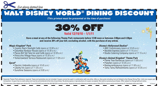 Walt Disney World Resort Dining Discount Voucher