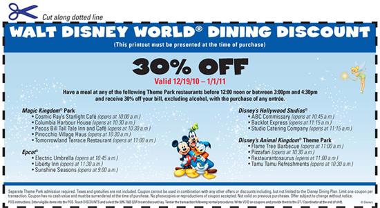 Walt Disney World Resort Dining Discount Voucher
