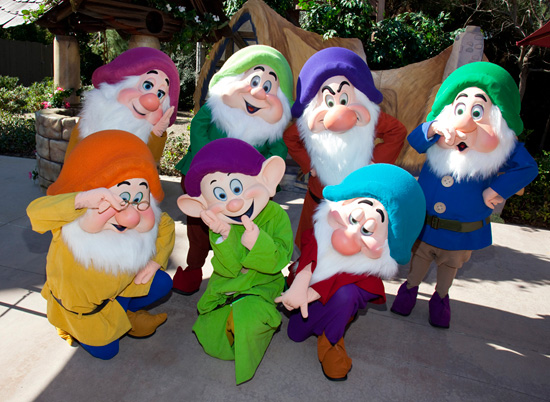 The Seven Dwarfs at Disneyland Park's Character Fan Days