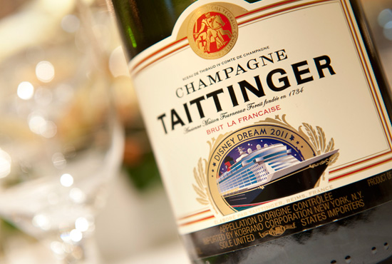 Taittinger Champagne label for the Disney Dream's inaugural year