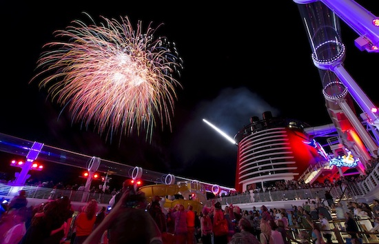 Guests filled the ship's upper decks to see the fireworks spectacular, Buccaneer Blast!