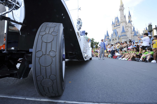 "The grand marshal vehicles are fitted in Disney ""a-tire"" from top to bottom."