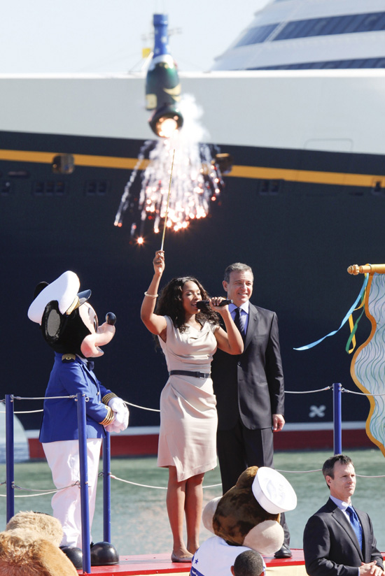 Jennifer Hudson Christens the Disney Dream in Port Canaveral, Florida