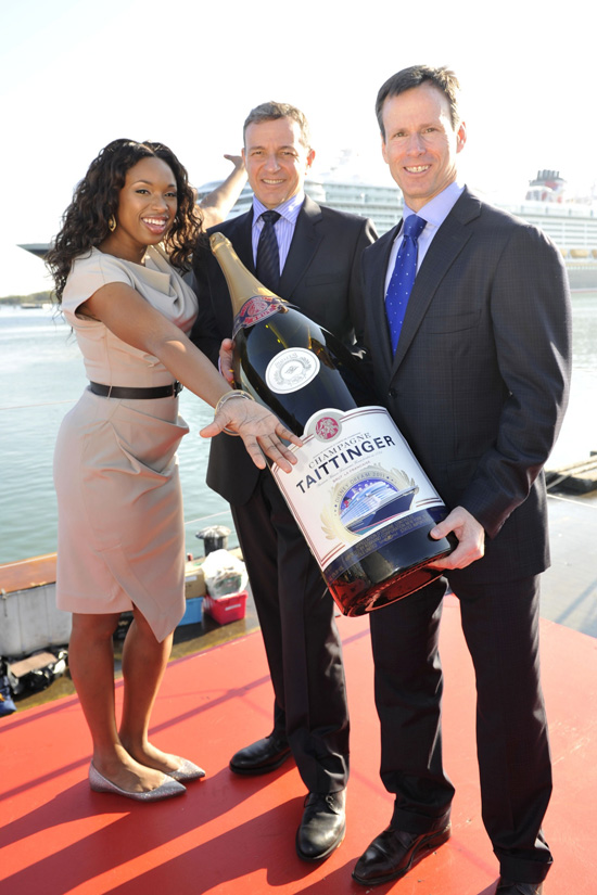 Jennifer Hudson, Bob Iger and Tom Staggs Christen the Disney Dream in Port Canaveral, Florida