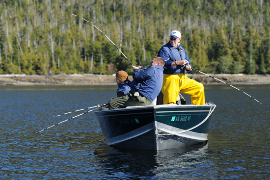 Guests can drop a line at an authentic fish camp in Ketchikan.