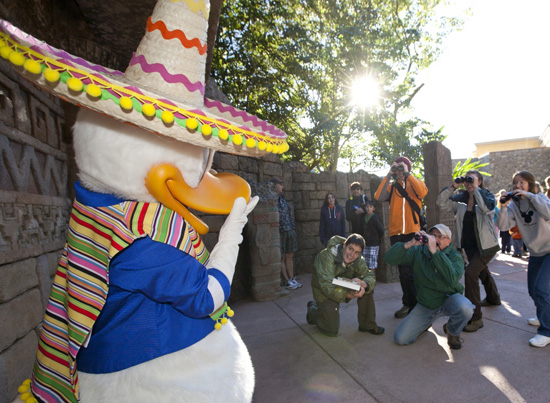 Donald Duck Poses for Pictures at Epcot's Mexico Pavilion