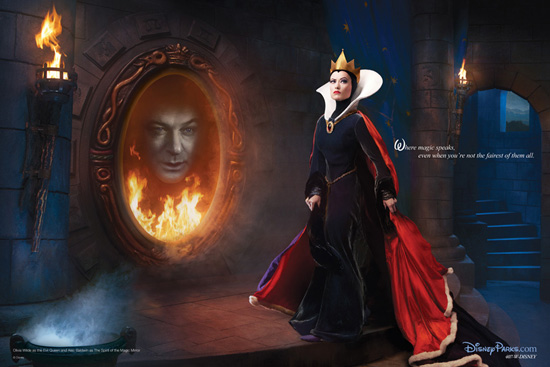 Olivia Wilde as the Evil Queen and Alec Baldwin as the Spirit of the Magic Mirror from 'Snow White and the Seven Dwarfs'