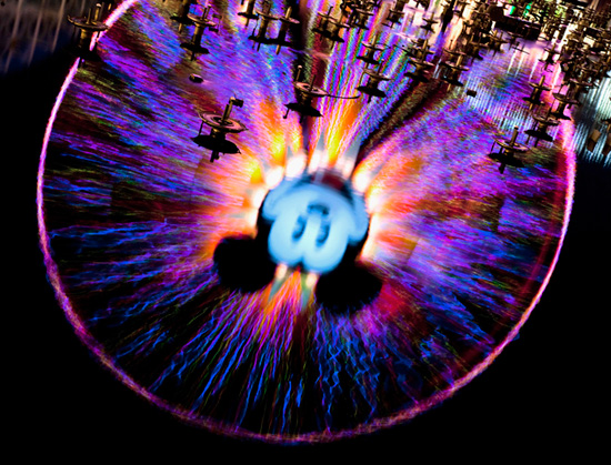 Mickey's Fun Wheel with the 'World of Color' Fountains at Disney California Adventure Park