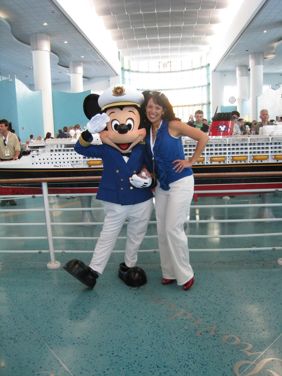 Andi and her pal, Captain Mickey Mouse, get ready to sail on the Disney Dream.
