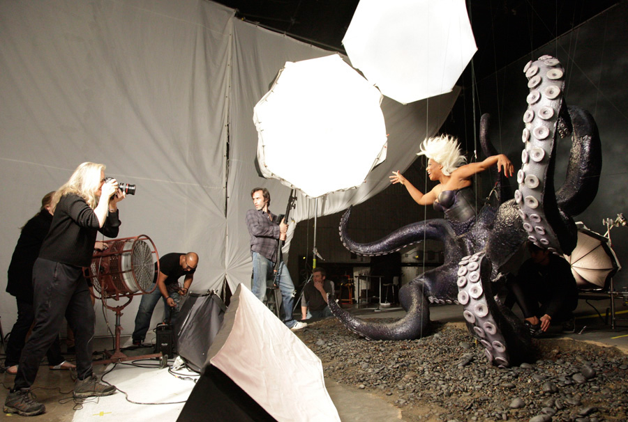 By annie leibovitz behind the scenes with queen latifah as ursula