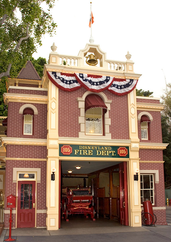 The Disneyland Fire House on Main Street, U.S.A., at Disneyland Park