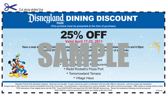 Disneyland Resort Dining Voucher