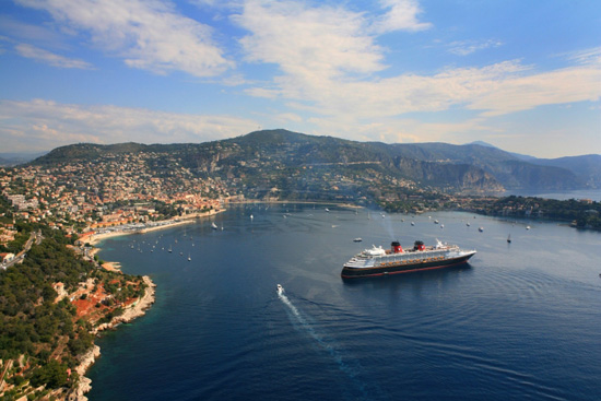 The Disney Magic basks in the bay of Villefranche, France.