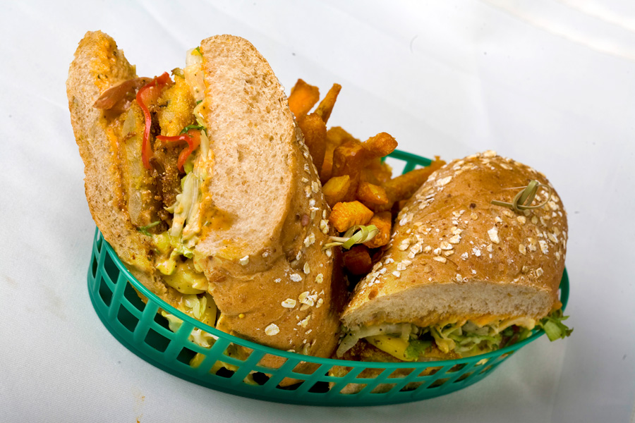 Fried Green Tomato Sandwich with Jicama-mango Slaw