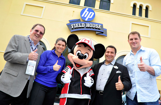 Gary Elliott, VP of Brand Marketing for HP, U.S. Women's Soccer Legend Mia Hamm, Mickey Mouse, Ken Potrock, Senior VP of Disney Sports Enterprises, and Jason Witten, NFL All-Pro tight end for the Dallas Cowboys