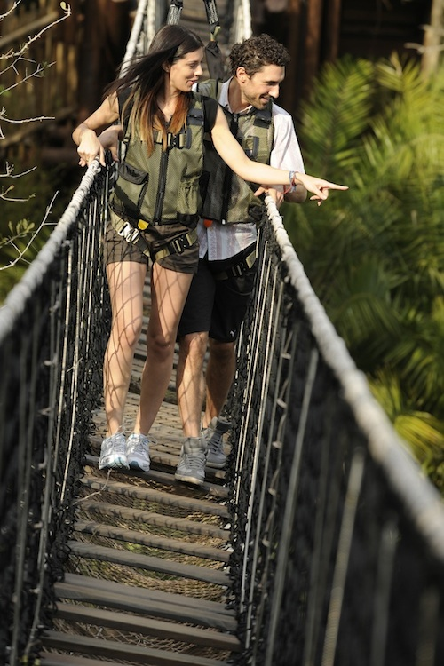 "Reality Stars Ethan Zohn of ""Survivor Africa"" and Jenna Morasca of ""Survivor Amazon"" on the Wild Africa Trek at Disney's Animal Kingdom Theme Park"